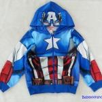 Marvel : แจ็คเก็ทกันหนาว มีฮูด ลาย กัปตันอเมริกา สีน้ำเงิน เนื้อผ้าออกลื่นๆ size XL (10-12y)