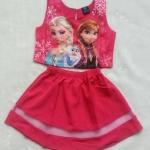 Gap Kids : Set เสื้อ + กระโปรง พิมพ์ลาย Frozen สีชมพูเข้มออกแดง size 1-2y