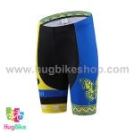กางเกงจักรยานผู้หญิงขาสั้น CheJi สีเหลืองน้ำเงินลายผีเสื้อ