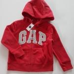 GAP : สีแดง ผ้าขนสำลี มีฮูด ปักโลโก้ GAP สีเงิน