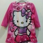 ** Hello Kitty ** : ชุดนอนผ้าสำลี สกรีนลาย Kitty สีชมพู size 12m
