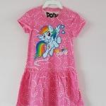 Pony : เดรสผ้า cotton ยีด ลายม้าโพนี่ Rainbow Dash สีชมพู size : 1-2y / 6-8y