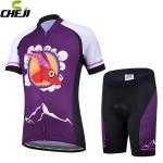 ชุดจักรยานเด็กแขนสั้นขาสั้น CheJi สีม่วง