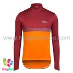เสื้อจักรยานแขนยาวทีม Rapha 16 (04) สีแดงส้มหน้าอกแถบม่วง