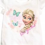 H&M : เสื้อยืด สกรีนลาย เจ้าหญิง Frozen สีขาว (งานช้อป) size : 1-2y / 8-10y