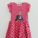 H&M : เดรส สกรีนลาย Frozen สีชมพูเข้มลายจุด (งานช้อป) Size : 1.5-2y