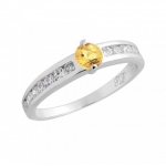 แหวนพลอยประจำวันเกิดวันจันทร์ ตัวเรือนเงินแท้ ประดับพลอย ซิทริน (citrine)