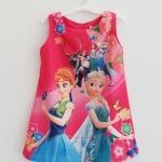ZARA : เดรสพิมพ์ลาย Frozen สีชมพูเข้ม size : 9y / 10y