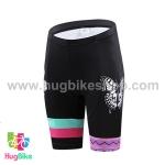 กางเกงจักรยานผู้หญิงขาสั้น CheJi 15 (05) สีชมพูดำเขียวลายผีเสื้อ