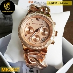 Michael Kors Chronograph Rose Dial Rose Gold Ion-plated Ladies MK3247