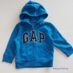Gap : แจ็คเก็ท กันหนาวมีฮูด ซิปหน้า สีน้ำเงิน ด้านในบุผ้าสำลี Size : 12-18m / 18-24m / 2y / 3y / 4y