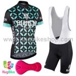 ชุดจักรยานผู้หญิงแขนสั้นขาสั้น Bianchi 17 (02) สีดำลายดอกสีเขียว กางเกงเอี๊ยม