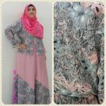 ชุดมุสลิมเสื้อลายดอกเนื้อดี +กระโปรงผ้าซาติน ฟรี ฮิญาบ!!