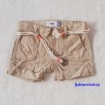 Old Navy : กางเกงขาสั้น พร้อมเข็มขัดเชือก สีน้ำตาลอ่อน (มีสายปรับเอว) size : 5y / 6y / 7y / 8y / 12y