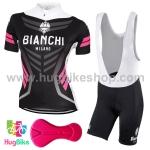 ชุดจักรยานผู้หญิงแขนสั้นขาสั้น Bianchi 17 (01) สีดำขาวชมพู กางเกงเอี๊ยม