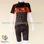 ชุดจักรยานผู้หญิงแขนสั้นขาสั้น ALE 16 (05) สีดำส้มลายฟองน้ำ