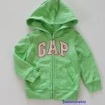 GAP : เสื้อกันหนาวซิปหน้า มีฮูด สีเขียวมะนาว size : 2y