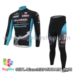ชุดจักรยานแขนยาวทีม Bianchi 15 (04) DRAIN สีดำฟ้า สั่งจอง (Pre-order)