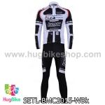 ชุดจักรยานแขนยาวทีม BMC 15 สีขาวดำ