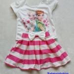 Ploy : Set เสื้อพิมพ์ลาย เจ้าหญิง Anna&Elsa+กระโปรงลายขวางสีบานเย็น Size : XL (7-8y)