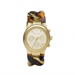นาฬิกาข้อมือ Michael Kors MK4222 Runway Twist Gold-Tone Tortoise Acetate Watch Size 38 mm