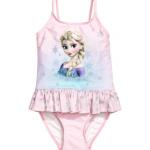 H&M : ชุดว่ายน้ำ รุ่น Swimsuit with a flounce ลาย Frozen สีชมพูอ่อน size : 1.5-2y