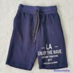 กางเกงขาสั้น เอวยืด สกรีน LA สีน้ำเงิน มีกระเป๋าข้าง size 2-4y