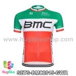 เสื้อจักรยานแขนสั้นทีม BMC 2015 สีเขียวขาวแดง