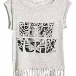 H&M : เสื้อยืด รุ่น Top with Fringe สีเทา size : 2-4y / 4-6y / 6-8y / 8-10y / 10-12y