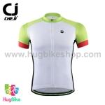 เสื้อจักรยานแขนสั้น CheJi 16 (02) สีขาวเขียวอ่อนแดง