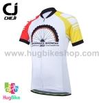 เสื้อจักรยานเด็กแขนสั้นขาสั้น CheJi สีขาวแดงเหลือง