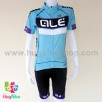 ชุดจักรยานผู้หญิงแขนสั้นขาสั้น ALE 16 (10) สีฟ้าดำขาวลายม่วงหลังขาว