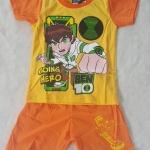 Set เสื้อ+กางเกงขาสั้น Ben10 Going Hero สีส้ม size : 2 ( 2-3y)