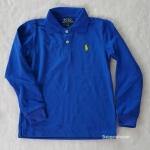 เสื้อคอปก แขนยาว ปักม้าโปโล สีน้ำเงิน size : 4-6y / 10-12y
