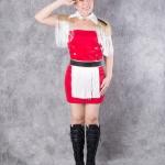 เช่าชุดแฟนซี &#x2665 ชุดแฟนซี ชุดดรัมเมเยอร์ ชุดเชียร์กีฬา สีแดง แต่งพู่ขาว พร้อมหมวก