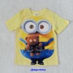 H&M : เสื้อยืด สีเหลือง สกรีนลายมินเนียน ตุ๊กตาหมี size : 8-10y / 10-12y / 12-14y