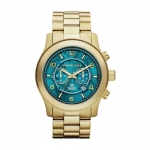 นาฬิกาข้อมือ Michael Kors MK8315 Watch Hunger Stop Oversized Runway Gold-Tone Stainless Steel Watch Size 45 mm