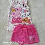 set เสื้อสีขาว+กางเกงขาสั้นสีชมพู Peppa pig size : 1-2y / 6-8y