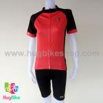 ชุดจักรยานผู้หญิงแขนสั้นขาสั้น ALE 16 (15) สีแดงดำ