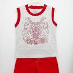 Baby : ชุดเสื้อกล้ามสีเทาลายสิงโต พร้อมกางเกงขาสั้นสีแดง