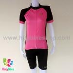 ชุดจักรยานผู้หญิงแขนสั้นขาสั้น ALE 16 (16) สีชมพูดำหลังขาว
