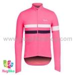 เสื้อจักรยานแขนยาวทีม Rapha 16 (03) สีชมพูหน้าอกแถบขาวดำ