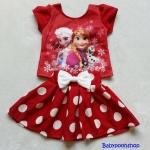 Ploy : Set เสื้อพิมพ์ลาย เจ้าหญิง Anna&Elsa+กระโปรง สีแดงลายจุดสีขาว size : S (2-3y)