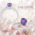 แหวนพลอยประจำวันเกิดวันเสาร์ ตัวเรือนเงินแท้ ประดับพลอยอเมทิส (Amathyse)