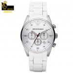 นาฬิกาข้อมือ Emporio Armani AR5859 Emporio Armani Men's AR5859 Sport White Silicone Silver