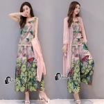 Set เสื้อกางเกงผ้าชีฟองอย่างดี สกรีนลายดอกทานตะวันมีผีเสื้อดอกไม้ผสม