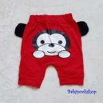 Aime'e : กางเกงทรง 3 ส่วน สกรีนลาย น้องลิง สีแดง ด้านหลัง เนื้อผ้า cotton นิ่ม งานไทยสไตล์เกาหลี