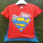 เสื้อยืดสีแดง สกรีนลาย Superman ด้านหลังมีผ้าคลุมสีฟ้า ถอดออกได้ size : 90