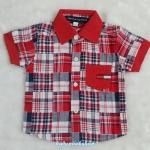 TOMMY : เชิ๊ตลายสก็อต สีแดง ผ้านิ่ม size 1