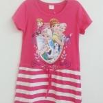 T.T : เดรสผ้ายืด cotton สกรีนลาย เจ้าหญิง Frozen สีชมพูเข้ม size : 150 / 160